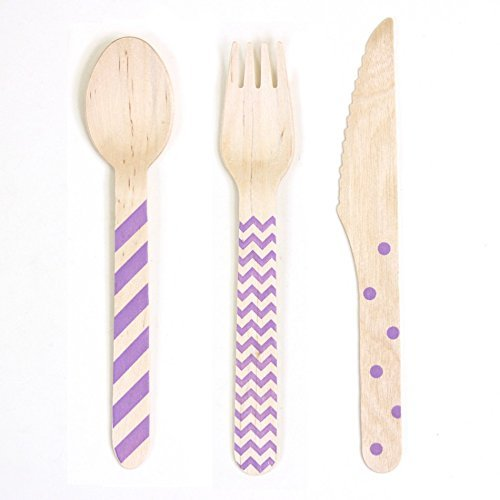 Dress My Cupcake Chevron/Striped/Polka Dot Stamped Wooden Cutlery (Set of 18) - Purple