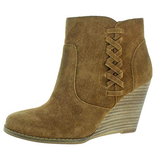 Jessica Simpson Charee Women's Suede Ankle Booties Boots Brown Size 9 (Leather Jessica Platforms)