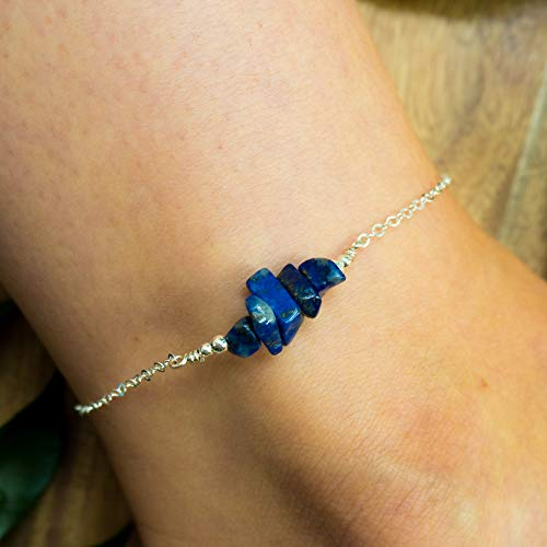Lapis Lazuli bead bar crystal gemstone anklet in 925 sterling silver - 8