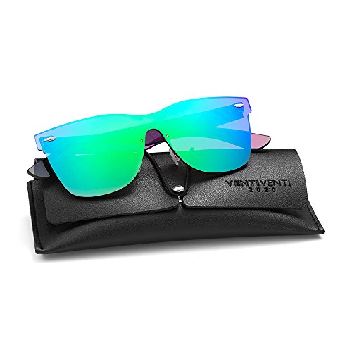2020VentiVenti Mirrored Sunglasses for Cool Men Women Vintage Square Lens Rimless Frame UV400 Colored Glasses for Aviator PC1601C02 - Cool Sunglasses Is