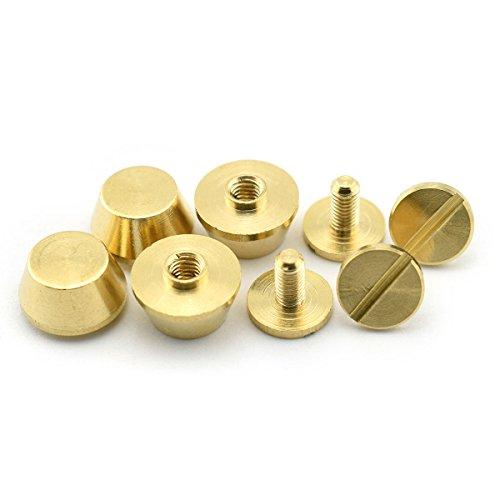 LQ Industrial 4-Pack 3/8 Inch Purse Handbag Feet Nailhead Flat Stud Solid Brass Screw-Back Spike Metal Cone Studs Rivet Leather Craft DIY Gold 10x6mm