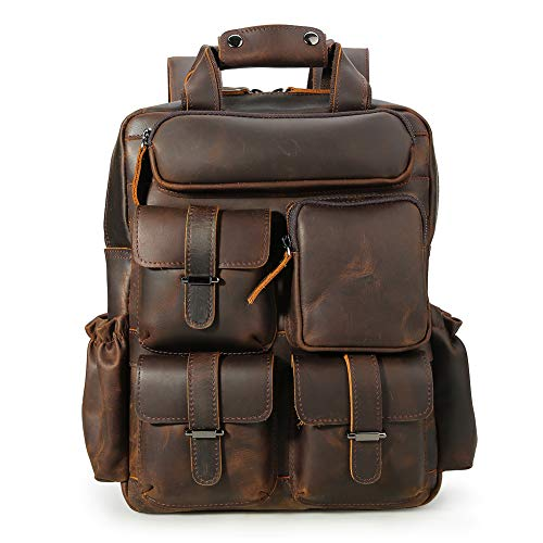 Tiding Vintage Men's Genuine Crazy Horse Leather 14 Inch Multi Pockets Laptop Backpack Shoulder Bag Travel Bag Dark Brown