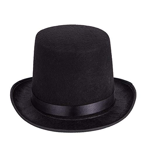Funny Black Felt Kids Top Hat - Dress Up Lincoln Hats for Magician or Ringmaster Costumes]()