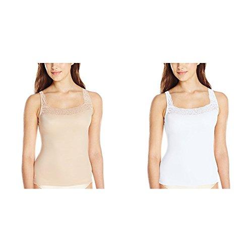 Vassarette Women's Microfiber Camisole 17072, Vass Latte/White Ice, -