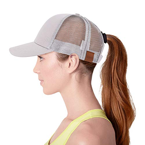Ponytail Baseball Hats for Women,Sun Messy High Bun Hat Adjustable and Mesh Trucker Baseball Cap (Grey)