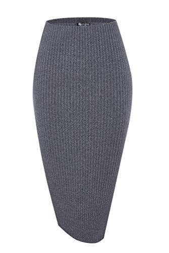 Urban CoCo Elastic Skinny High Waist Solid Ribbed Knit Office Pencil Skirt