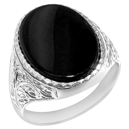 Gents Solid 925 Sterling Silver Natural Onyx Mens Signet Ring - Size 11 - Sizes 6 to 13 Available ()