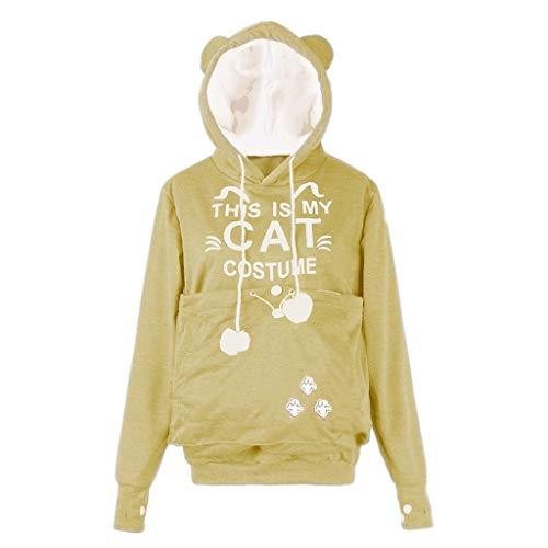 Mysky Women Cute CAT Letter Printed Pocket Drawstring Sweatshirt Ladies Simple Pure Hooded Plus Size Pullover