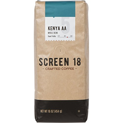 Screen 18 Kenyan AA Single Origin Premium Crafted Coffee, Whole Bean, Medium/Dark Roast, 1 LB Bag
