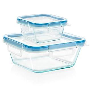 Snapware Total Solution Glass Food Storage Set (4-Piece, BPA Free Plastic Lids, Meal Prep, Leak-Proof)