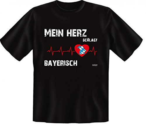 T-Shirt mit Spruch - Mein Herz schlägt Bayerisch - regional patriotisch bodenständig heimatverbunden