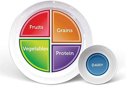 """Health Beet Portion Control Plate - Choose MyPlate for Teens and Adults, Nutrition Plate and Dairy Bowl with Food group Sections, 10"""" - English Language (1 Plate, 1 Bowl) 1"""