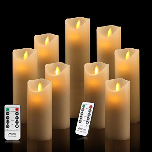 - Antizer Flameless Candles Set of 9 Ivory Dripless Real Wax Pillars Include Realistic Dancing LED Flames and 10-Key Remote Control with 24-Hour Timer Function 400+ Hours by 2 AA Batteries