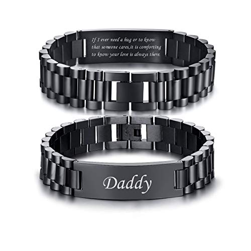 VNOX Masculine Watch Band Stainless Steel Link Bracelet Personalized Engraved DAD Jewelry Gift for Men DAD Father,Style 3 from VNOX