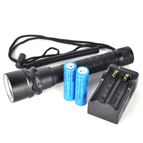 1Pc Ideal Popular 3x LED 100m Diving Flashlight 6000Lm Anti Slippery Underwater Tactical Light Color Black with Battery Charger by GVGs Shop