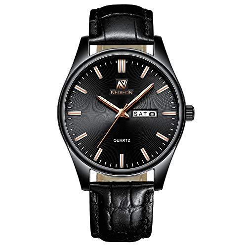 - NEDIFON Men Watches Black Dial Simple Design Dress Casual Watches Sport Wristwatch Date Calendar Quartz Watch for Man with leatcher Band