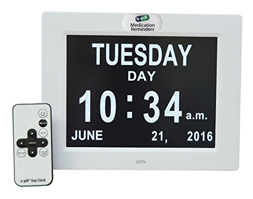 E-pill Dementia Alzheimer's Memory Loss Calendar Day Clock with 6 Reminder Alarms. Large Non Abbreviated Day Month and Time Display.