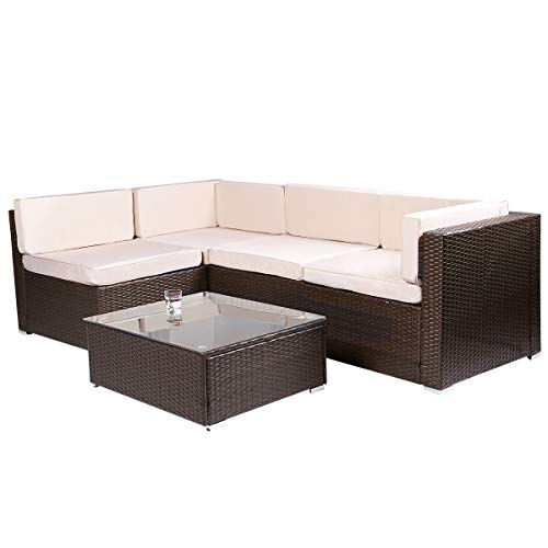 Esright 5 Pieces Patio PE Rattan Wicker Sofa Sectional Furniture ()
