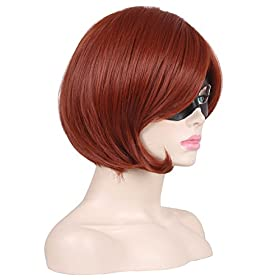 - 41SyB4UVKNL - ColorGround Short Reddish Brown Prestyled Cosplay Wig and Eye Mask for Women