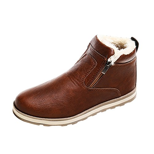 Cenglings Men Winter PU Leather Round Toe Plus Velvet Warm Boots Casual Zipper Slip On Flat Shoes Plush Snow Boots