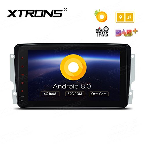 XTRONS 8 Inch Android 8.0 Octa Core 4G RAM 32G ROM Multi Touch Screen Car Stereo Player GPS DVR Wifi TPMS OBD2 for Mercedes Benz C-Class W203 W168