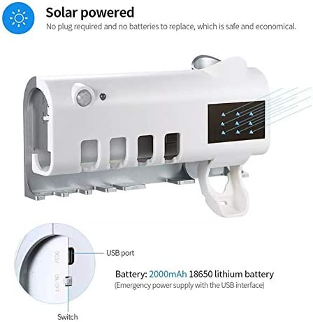 Foonee Rechargeable Wall-Mounted UV Toothbrush Sterilizer Holder with Solar Battery Automatic Toothpaste Dispenser for Toddler Women-White