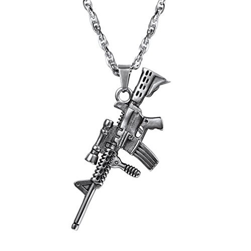 Stainless Steel Military Army Charm Necklace M16A4 Rifle Shape Pendant & Chain Cool Punk Rock Men Jewelry Gift for Him Gun Necklace