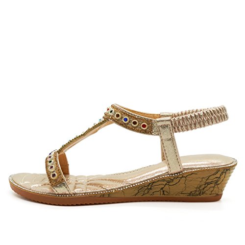 Ladies Toe Post Slingback 3 9 Size Gold Heel Sandals Diamante Summer Low Womens Wedge wq0AxYX