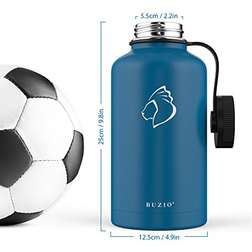 BUZIO Stainless Steel Water Bottle (Cold 48 Hrs, Hot 24 Hrs), 64 oz Vacuum Insulated Water Bottle Straw Lid Flex Cap (Double Wall, Wide Mouth, BPA Free, Leak Proof, Sweat Free) by BUZIO (Image #5)