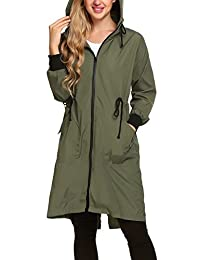 Zeagoo Women's Lightweight Waterproof Raincoat with Hood Long Outdoor Rain Jacket