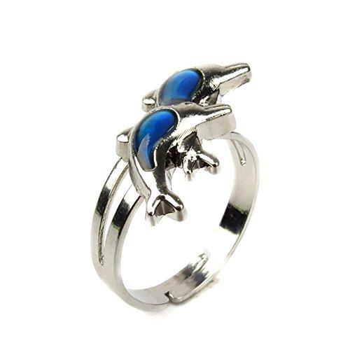 Jiali Q 6pcs Mood Change Color Ring Adjustable Size Temperature Finger Ring -