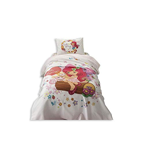 TAC 3-Piece Strawberry Shortcake Spring Licensed Cartoons Bedspread Coverlet (Pique) Set, 100% Pure Cotton Luxury, Children Teenager Single Size -