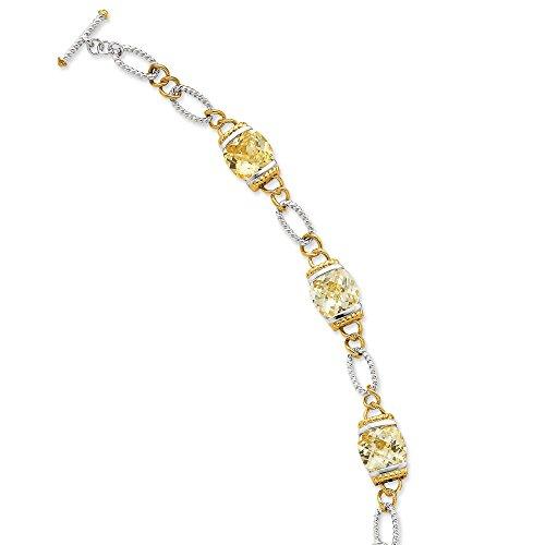 Argent Sterling Vermeil CZ Bracelet-Jaune clair 19 cm-Bascule-JewelryWeb