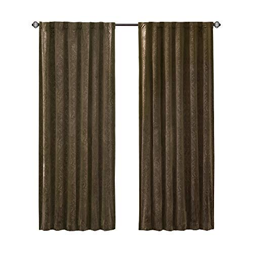 Comfort Spaces Embossed Paisley Motif Poly Velvet Window Curtain Tie Back Energy Efficient Saving Panel Pair with Rod Pocket, 50