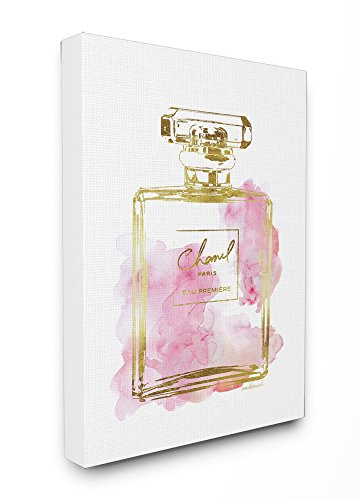 Stupell Industries Glam Perfume Bottle Gold Pink Stretched Canvas Wall Art, Proudly Made in USA (Canvas Gold Art)
