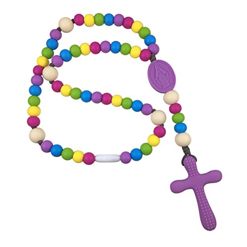 (Chews Life Purple Rainbow Rosary | Silicone Teething Rosary | Boys' or Girls' Baptism or Mass Toy )