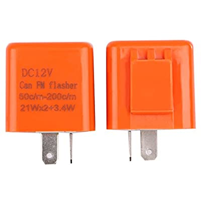 Turn Signal Flasher, Sdootauto 2 Pcs 12V 2-Pin Motorcycle Adjustable Flasher LED Flasher Relay Hyper Indicator Flash- Black and Orange…: Automotive