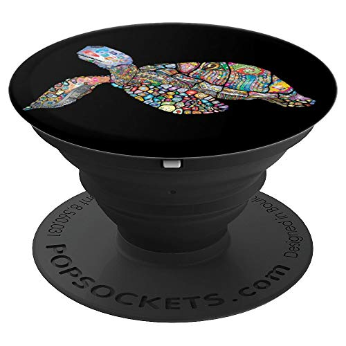 Mission State Glass Stained - Colorful stained-glass style turtle gift popsocket - PopSockets Grip and Stand for Phones and Tablets