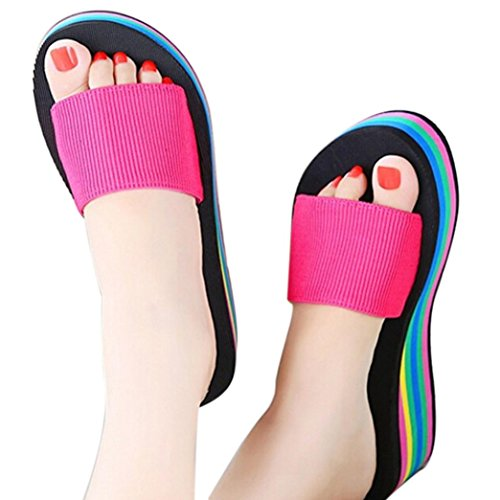 Women Summer Flip Flops Sandals,Todaies Women Rainbow Summer Non-Slip Sandals Female Beach Slippers 3~5cm (US 7.5, Hot Pink)