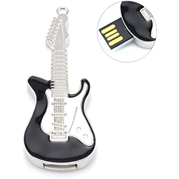 Metal Violin/Guitar Shaped USB Flash Drive Memory Stick USB Storage (Black Guitar 8GB)