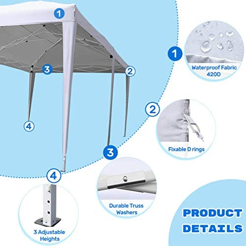 KING BIRD 10x 20 ft Ez Pop up Canopy Tent Instant Shelter Party Tent Outdoor Event Gazebo Waterproof with 6 Sand Bags-White