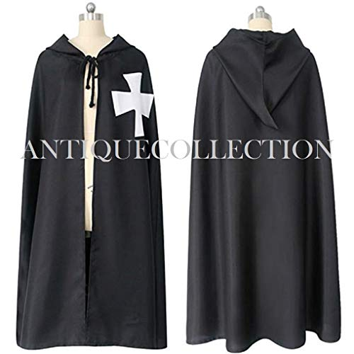 Men's Retro Medieval Knights Templar Hospitaller Hooded Cloak Costume Crusader Cape Tunic with Cross (Small)