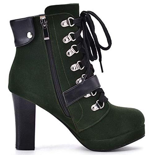 Bottes Classique Vert 2 Motardes Taoffen Lacets Femmes gq85Z5wP