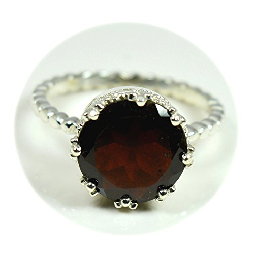 Red Garnet Ring - 55Carat Genuine Red Garnet Ring Sterling Silver Round Shape Healing January Birthstone For Men & Women