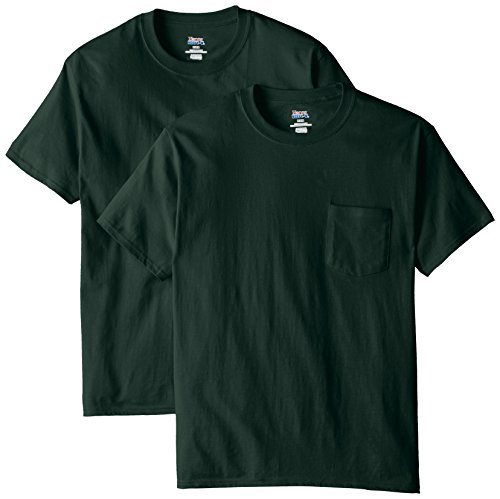 Hanes Men's 2 Pack Short Sleeve Pocket Beefy-T, Deep Forest, 3X-Large