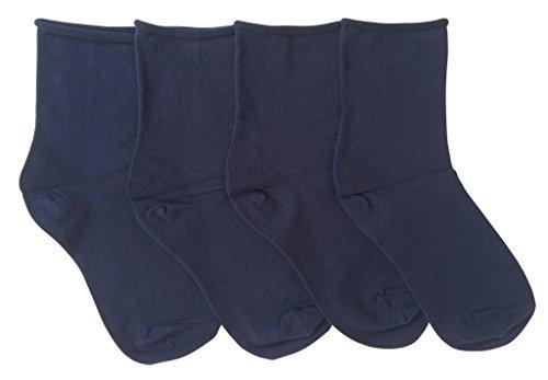 K. Bell Women's Relaxed Roll Top Crew Socks, 4 Pair, Navy Blue