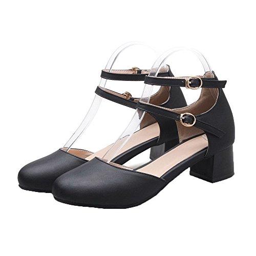 AalarDom Double Légeres Souple Chaussures Bouton Matière Noir Femme Boucle Rang rCqFw6TWr