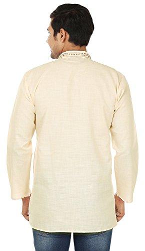 Indian Clothing Fashion Mens Embroidered Short Kurta Cotton (Cream, XL) by Maple Clothing (Image #3)