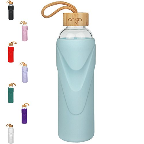 ORIGIN - Best BPA-Free Glass Water Bottle With Protective Silicone Sleeve and Bamboo Lid - Dishwasher Safe – 32 Ounce (Sky Blue)