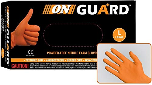 On Guard Powder Free Orange Nitrile Exam Gloves, 6.5 Mils Thick, Disposable, Non Sterile, Food Safe, High Visibility (Case of 1000, X-Large) by ON GUARD